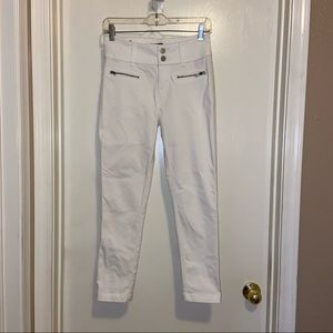 Tinsel skinny cropped white wide waistband pants